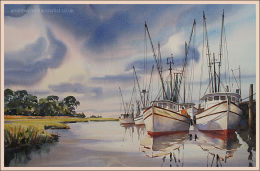 "Shrimpers 14""x22"""
