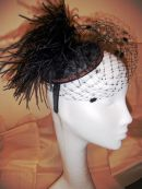 Black Sinamay base with Ostrich style feather and Veil