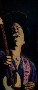 Jimi Hendrix, a rare attempt at painting
