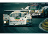 Porsche 962C #7 & Jaguar XJR-8 #5 at Brands Hatch 1987.