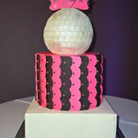 Bat mitzvah cake. Colour theme was Black and pink and lots of disco