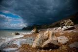 storm over Eype beach