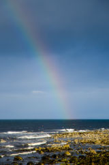 Brora Harbor with Rainbow, Scotland