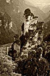 Zhangjiejia Mountains in Sepia, China