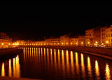 Pisa at Night, the Arno River, Italy