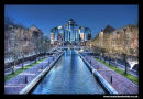 View down Mariners Canal, Grain Wharf Apartments Salford Quays